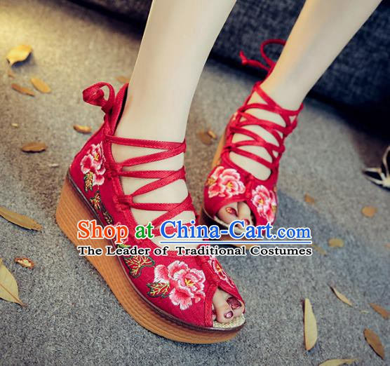 Traditional Chinese National Hanfu Red Embroidered Shoes, China Princess Embroidery Peep-toe Shoes for Women