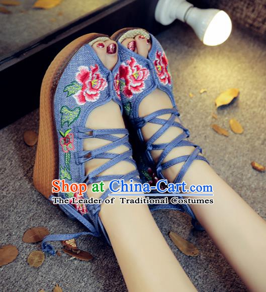 Traditional Chinese National Hanfu Blue Embroidered Shoes, China Princess Embroidery Peep-toe Shoes for Women