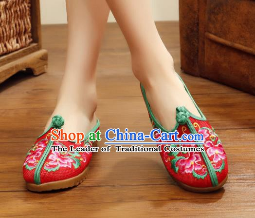 Traditional Chinese National Hanfu Embroidered Slippers, China Princess Embroidery Peony Red Shoes for Women