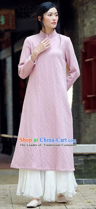 Traditional Chinese National Costume Hanfu Pink Qipao Dress, China Tang Suit Cheongsam for Women