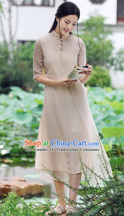 Traditional Chinese National Costume Hanfu Khaki Stand Collar Qipao Dress, China Tang Suit Cheongsam for Women
