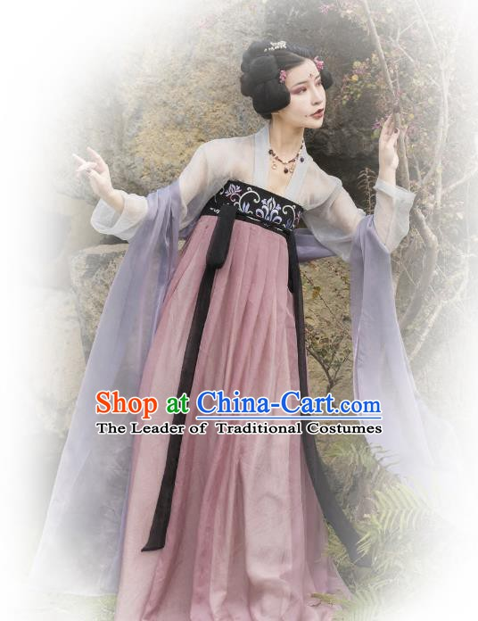 Traditional Chinese Ancient Palace Lady Fairy Costume, China Tang Dynasty Princess Embroidered Dance Clothing for Women