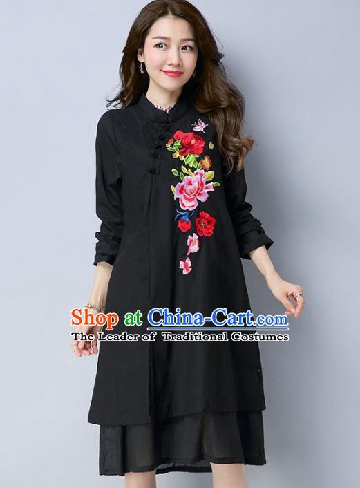Traditional Chinese National Costume Hanfu Embroidered Black Qipao Dress, China Tang Suit Cheongsam for Women