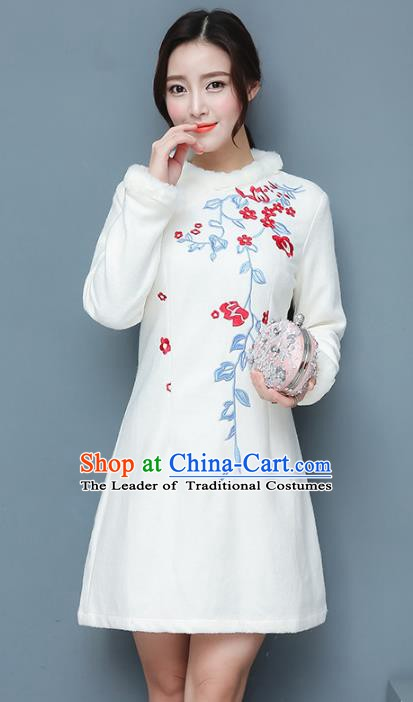Traditional Chinese National Costume Hanfu Embroidery White Qipao Dress, China Tang Suit Cheongsam for Women