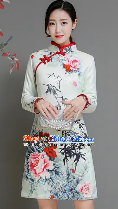 Traditional Chinese National Costume Hanfu Printing Peony White Qipao, China Tang Suit Cheongsam Dress for Women