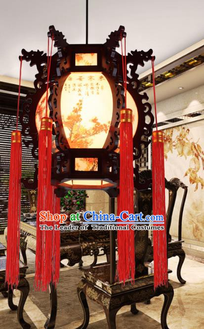 Traditional Chinese Handmade Lantern Classical Wood Carving Palace Lantern China Ceiling Palace Lamp