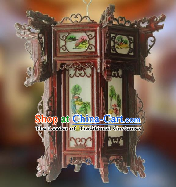 Traditional Chinese Handmade Printing Grass Lantern Classical Palace Lantern China Wood Carving Ceiling Palace Lamp