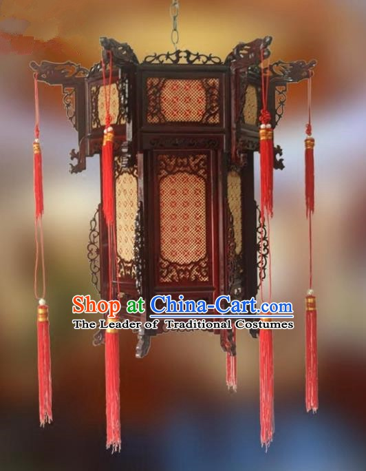 Traditional Chinese Handmade Woodcarving Ceiling Lantern Classical Palace Lantern China Palace Lamp