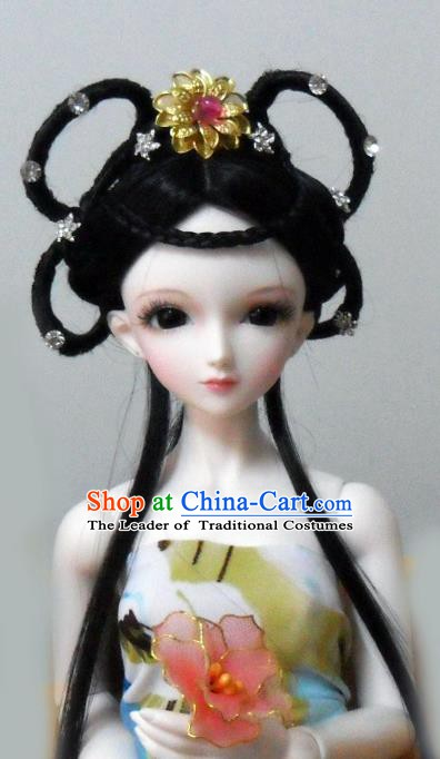 Traditional Handmade Chinese Ancient Tang Dynasty Princess Hair Accessories Palace Lady Wig for Women