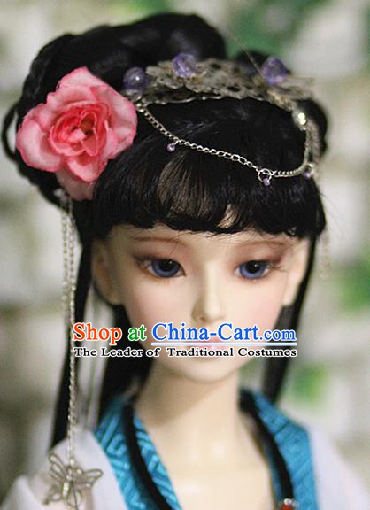 Traditional Handmade Chinese Ancient Ming Dynasty Young Lady Wig Sheath Princess Wig for Women