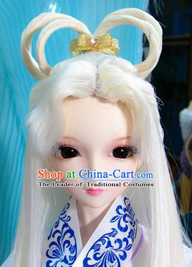 Traditional Handmade Chinese Ancient Ming Dynasty Young Lady White Wig Sheath Fairy Princess Wig for Women