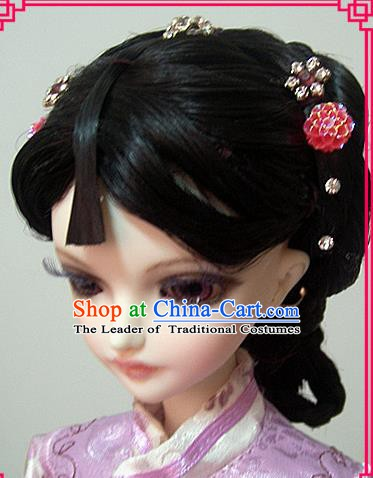 Traditional Handmade Chinese Ancient Qing Dynasty Nobility Lady Hair Accessories Wig Sheath for Women