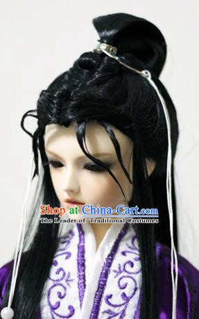 Traditional Handmade Chinese Ancient Han Dynasty Swordsman Hair Accessories Wig Sheath for Men