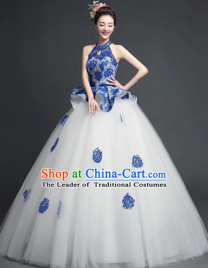 Chinese Style Wedding Catwalks Costume Wedding Bride Full Dress Bubble Veil Dress for Women