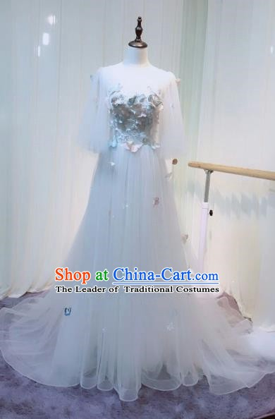 Chinese Style Wedding Catwalks Costume Wedding Bride White Veil Full Dress Compere Clothing for Women