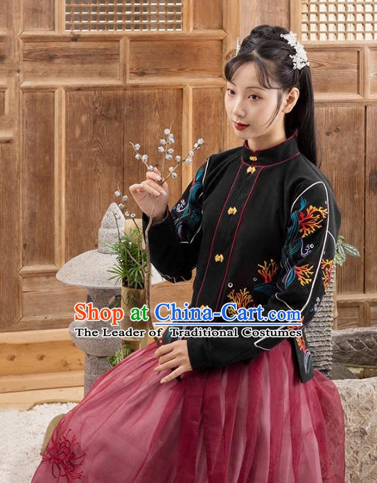 Traditional Chinese Ming Dynasty Nobility Lady Costume Embroidered Blouse and Skirt Complete Set for Women