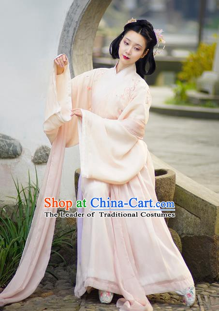 Traditional Chinese Jin Dynasty Nobility Lady Costume, China Ancient Princess Embroidered Clothing for Women