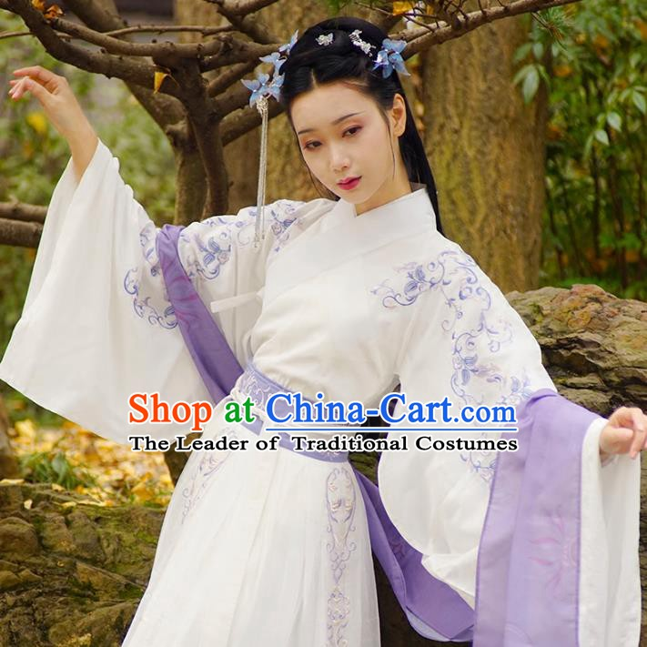 Traditional Chinese Han Dynasty Nobility Lady Costume, China Ancient Princess Embroidered Hanfu Clothing for Women