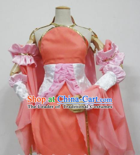 Traditional Chinese Ancient Cosplay Swordsman Clothing Ming Dynasty Young Lady Pink Costume for Women