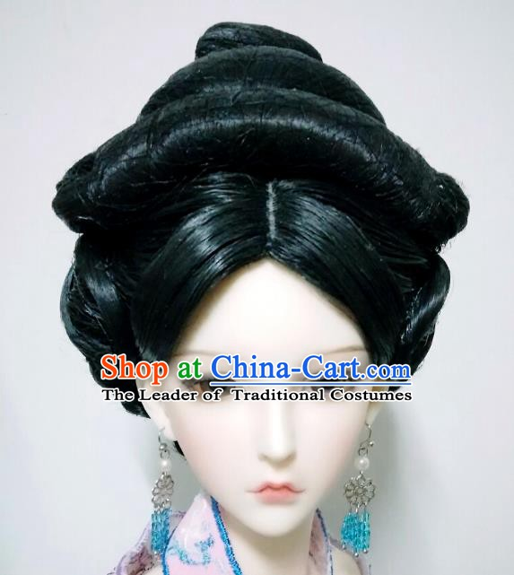Traditional Handmade Chinese Tang Dynasty Imperial Concubine Wig for Women