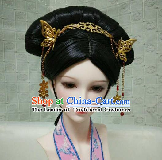 Traditional Handmade Chinese Qing Dynasty Manchu Imperial Concubine Wig for Women