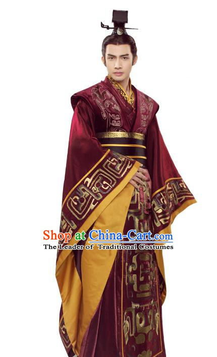 Traditional Chinese Qin Dynasty Imperial Emperor Costume Ancient King Embroidered Robe Clothing for Men