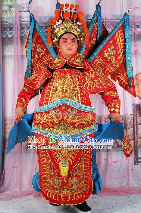 Chinese Beijing Opera General Red Embroidered Costume, China Peking Opera Military Officer Embroidery Gwanbok Clothing