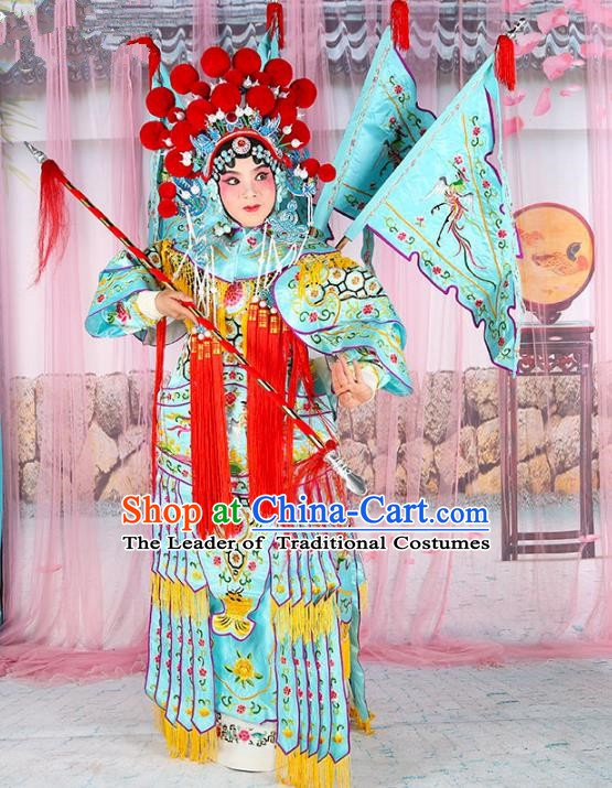 Chinese Beijing Opera Female General Costume Embroidered Blue Armour, China Peking Opera Blues Embroidery Gwanbok Clothing