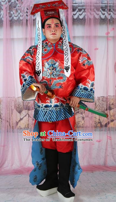 Chinese Beijing Opera Takefu Costume Red Embroidered Robe, China Peking Opera General Embroidery Gwanbok Clothing