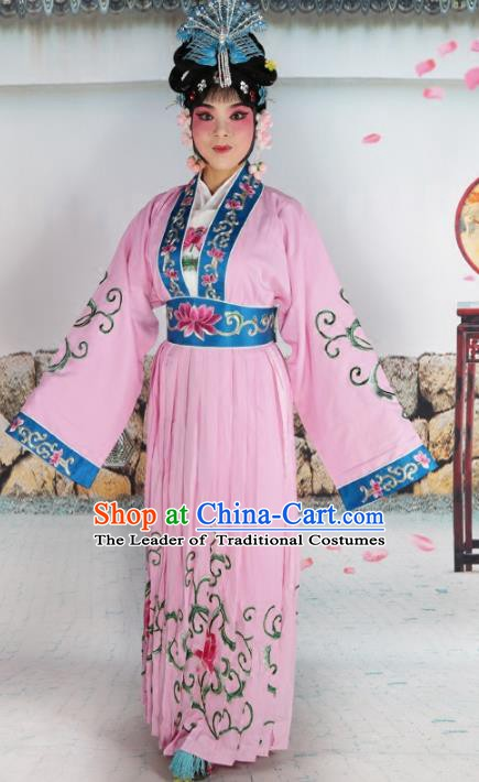 Chinese Beijing Opera Nobility Lady Embroidered Pink Costume, China Peking Opera Actress Embroidery Clothing