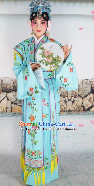 Chinese Beijing Opera Nobility Lady Princess Embroidered Blue Costume, China Peking Opera Actress Embroidery Clothing