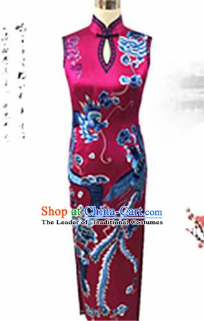 Traditional Chinese National Costume Rosy Mandarin Qipao, Tang Suit Embroidered Peony Chirpaur Silk Cheongsam Clothing for Women
