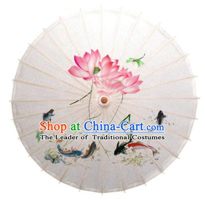 Asian China Dance Umbrella Stage Performance Umbrella Hand Painting Lotus Fish White Oil-paper Umbrellas