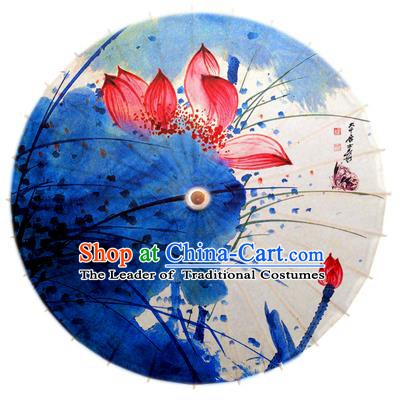Asian China Dance Umbrella Stage Performance Umbrella Hand Painting Red Lotus Oil-paper Umbrellas