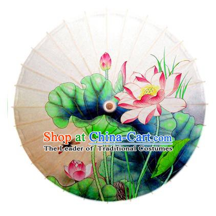 Asian China Dance Umbrella Stage Performance Umbrella Hand Painting Lotus Dragonfly Oil-paper Umbrellas