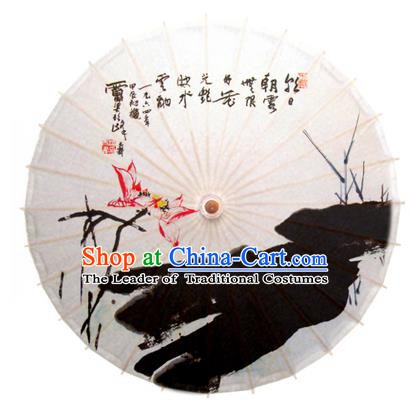 Asian China Dance Umbrella Stage Performance Umbrella Hand Ink Painting Lotus Oil-paper Umbrellas