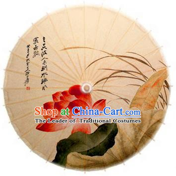 Asian China Dance Umbrella Stage Performance Umbrella Hand Ink Painting Lotus Orchid Oil-paper Umbrellas