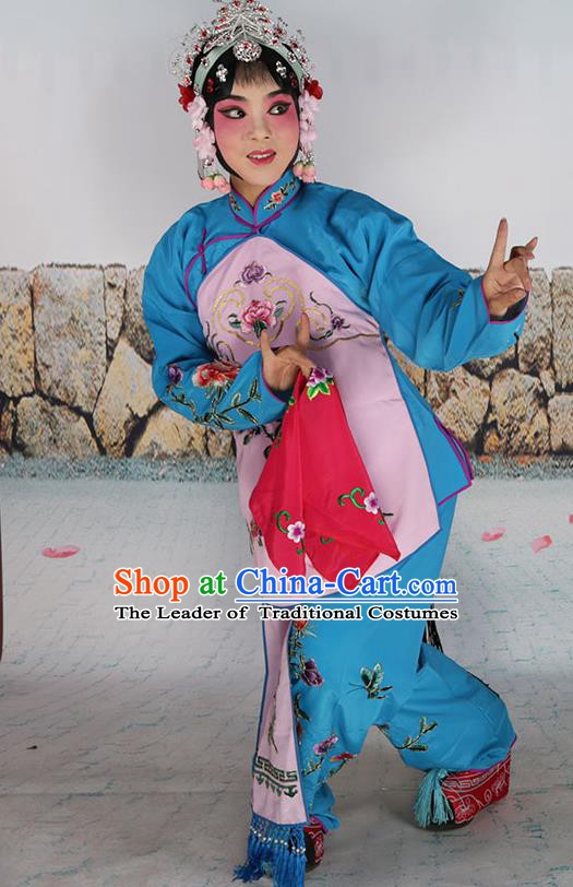 Chinese Beijing Opera Servant Girl Pink Embroidered Costume, China Peking Opera Actress Embroidery Clothing
