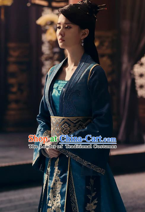 Traditional Chinese Ancient Han Dynasty Young Lady Embroidered Costume for Women