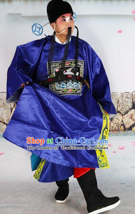 Chinese Beijing Opera County Magistrate Costume Blue Embroidered Robe, China Peking Opera Officer Embroidery Clothing