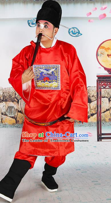 Chinese Beijing Opera Magistrate Costume Red Embroidered Robe, China Peking Opera Officer Embroidery Clothing