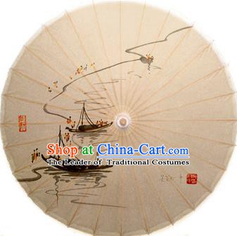 Asian China Dance Handmade Umbrella Stage Performance Props Umbrella Ink Painting Fishing Boat Oil-paper Umbrellas