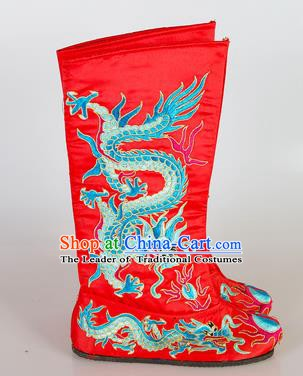 Chinese Beijing Opera Emperor Red Embroidered Boots, China Peking Opera Takefu General Embroidery Dragons Shoes