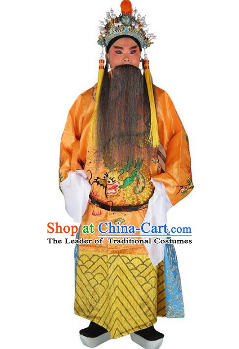 Chinese Beijing Opera Emperor Costume Yellow Embroidered Robe, China Peking Opera Imperial Majesty Embroidery Clothing