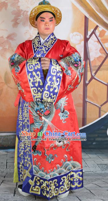 Chinese Beijing Opera Prime Minister Costume Red Embroidered Robe, China Peking Opera Officer Embroidery Clothing