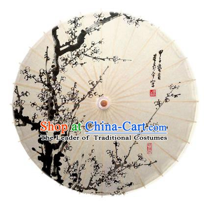 China Traditional Dance Handmade Umbrella Ink Painting Plum Blossom Oil-paper Umbrella Stage Performance Props Umbrellas