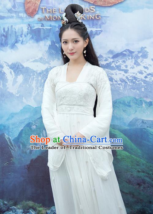 Traditional Chinese Ancient Tang Dynasty Palace Lady Princess White Dress Costume for Women