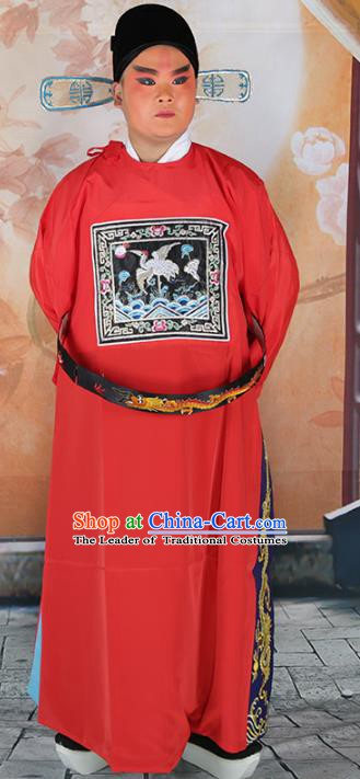 Chinese Beijing Opera Minister Costume Red Embroidered Robe, China Peking Opera Officer Embroidery Clothing