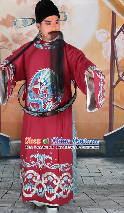 Chinese Beijing Opera Prime Minister Costume Purplish Red Embroidered Robe, China Peking Opera Chancellor Embroidery Clothing