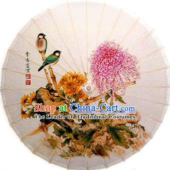 Handmade China Traditional Dance Ink Painting Birds Chrysanthemum Umbrella Oil-paper Umbrella Stage Performance Props Umbrellas